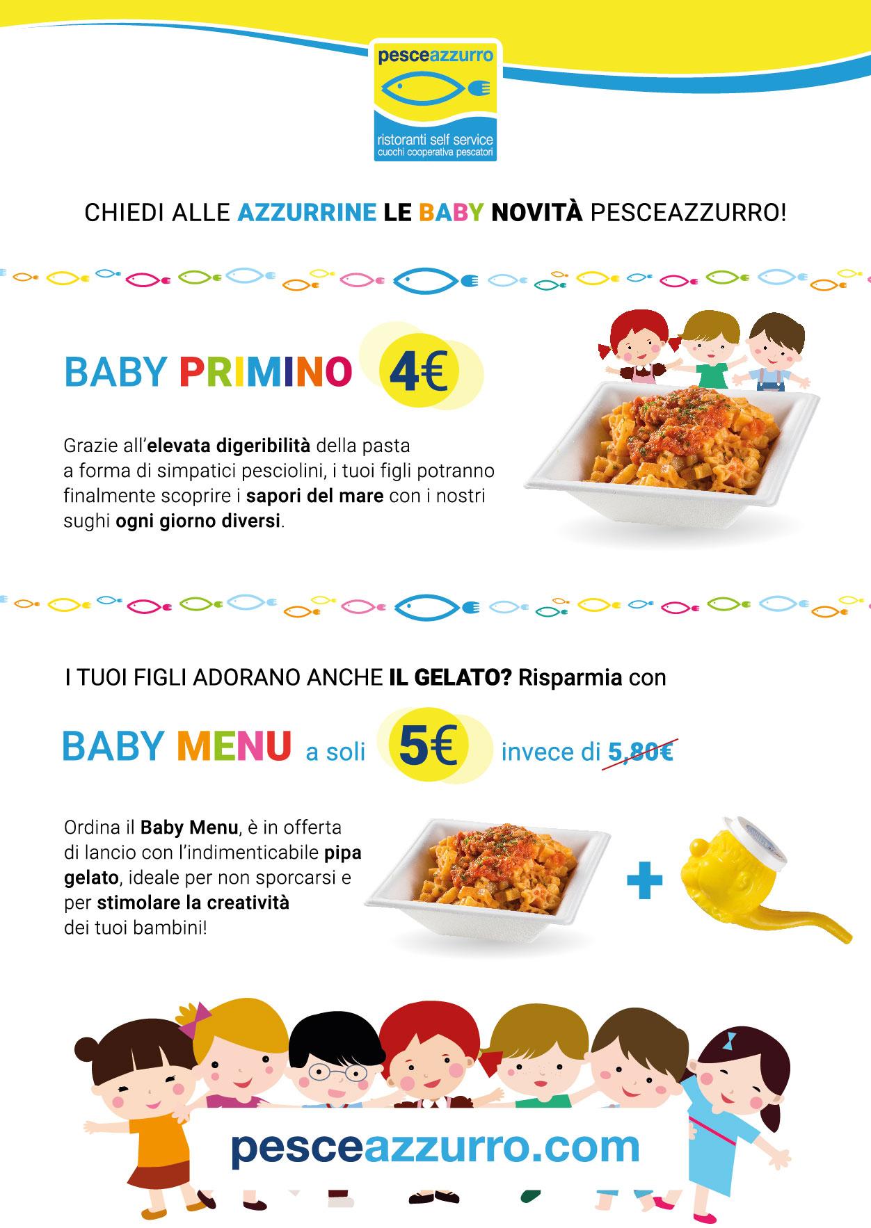 Ristorante PesceAzzurro - Baby Primino e baby menù, il mennù a base di pesce per il tuo bambino